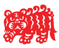 Chinese Zodiac of tiger year. Traditional Chinese culture, paper-cut art stock illustration