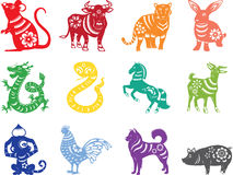 Chinese zodiac twelve animals. Chinese zodiac with twelve animal paper cut style in many colors Royalty Free Stock Photography
