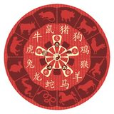 Chinese Zodiac Wheel. With signs and the five elements symbols Stock Images