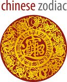 Chinese zodiac wheel with signs and the five elements symbols royalty free illustration