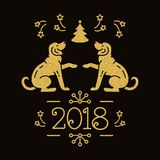 Chinese Zodiac Year of the Dog 2018, Christmas card. Holiday golden symbols on a dark background. Vector illustration. Chinese Zodiac Year of the Dog 2018 Stock Images