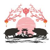 Chinese zodiac the year of Pig Royalty Free Stock Photography