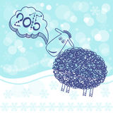 Chinese Zodiac 2015 - Year of the Sheep. New year card, i. New Year abstract background with cute lamb, a symbol of 2015. Winter illustration vector illustration