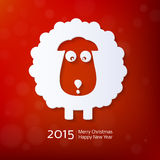 Chinese Zodiac 2015. Year of the Sheep, Ram, Goat. Flat style. Merry Christmas decoration. Happy New year background. Design element Stock Images