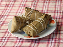 Chinese zongzi wrapped in bamboo leaves Royalty Free Stock Image