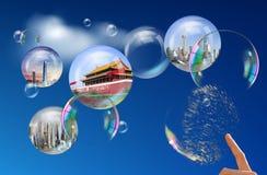 Chineseexplosion der wirtschaftlichen Blase stockfotos