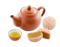 Chinesekuchen mit Tee Lizenzfreie Stockfotografie