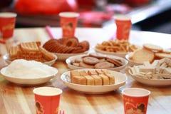 Chinesekuchen und -gebäck für Hochzeitstag Stockbild