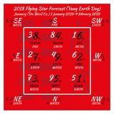 2018 Chinesen feng shui Kalender 12 Monate Stockbilder
