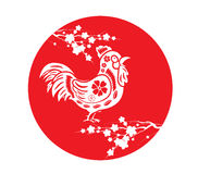 Chinesenew year 2017. Circle cherry blossom and rooster Stock Photography