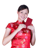 Chinesewoman with red packet Royalty Free Stock Photos