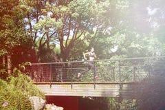 Chinesin, die über Brücke läuft Stockfoto