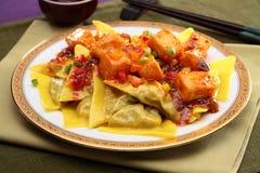Chinesisch-ähnliche Ravioli mit gebratenem Tofu auf weißer Platte lizenzfreie stockbilder