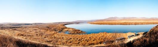 Chinesisch-russisches Grenze-riverï ¼ ˆpanoramagramï ¼ ‰ Stockfotografie