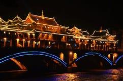 Chinesische alte Architekturnacht Stockbilder