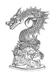 Chinesische Art-Drache-Statuezeile. Stockfotos