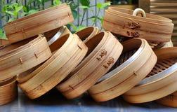 Chinesische Bambusdampfer stockfotografie