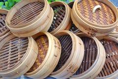 Chinesische Bambusdampfer lizenzfreies stockfoto