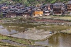 Chinesische Bauern, die auf einem überschwemmten Gebiet nahe Dorf arbeiten Stockbilder