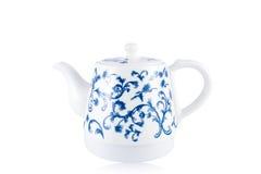 Chinesische blaue und weiße Porzellanteekanne Stockbild