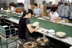 Chinesische Borduhrfabrik Stockbild