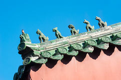 Chinesische Dachfigürchen bei Lama Temple, Peking Stockfotos