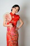 Chinesische Dame mit Fächer Stockbilder