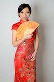 Chinesische Dame mit Fächer Stockfotografie