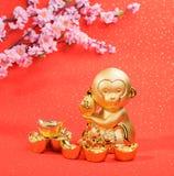 Chinesische Dekoration des neuen Jahres: goldener Affe Lizenzfreie Stockbilder