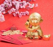 Chinesische Dekoration des neuen Jahres: goldener Affe Lizenzfreie Stockfotografie