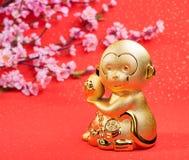 Chinesische Dekoration des neuen Jahres: goldener Affe Stockbilder