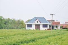 Chinesische Dorfhäuser und Ackerland Stockbild