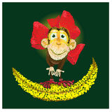 Chinesische Fahne 2016 des neuen Jahres des Tierkreises mit dem Affen Lizenzfreies Stockbild