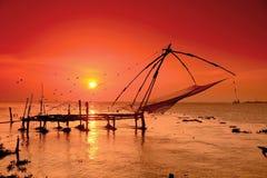 Chinesische fishernets in Cochin Stockbilder