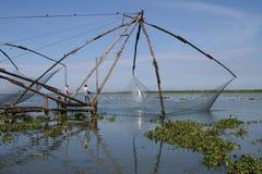 Chinesische fishingnets innen, Indien Stockbild