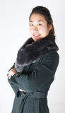 Chinesische Frau im ledernen Oberen lizenzfreies stockbild