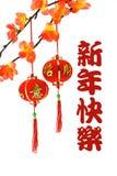 Chinesische Grüße und Laternen des neuen Jahres Lizenzfreies Stockfoto
