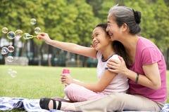 Chinesische Großmutter mit Enkelin im Park Stockbild