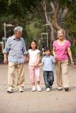 Chinesische Großeltern, die durch Park gehen Stockfotografie