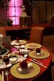 Chinesische Hochzeitstabelleneinstellung Stockfotos