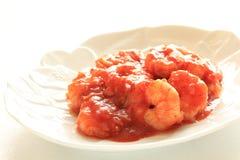 Chinesische Küche, Paprika Garnele mit Schalotte Stockfoto