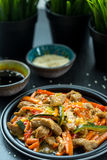 Chinesische Küche - Schweinefleisch mit dem Gemüse frittiert in der Sauer-süßen Soße lizenzfreie stockbilder