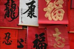 Chinesische Kalligraphien werden gehangen (Vietnam) Stockbild