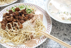 Chinesische kalte Nudel, taiwanesische Art Lizenzfreies Stockfoto