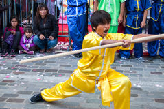 Chinesische Kampfkünste auf Mondfestival in Paris Stockfoto