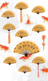 Chinesische Karte koi Kalligraphie des Fans Lizenzfreie Stockfotografie