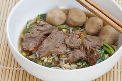 Chinesische klare Brühe mit den gekochten Eingeweiden und Gemüse Stockbilder