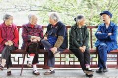 Chinesische ländliche alte Leute Stockfoto