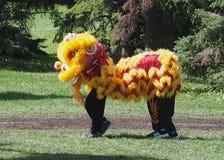 Chinesische Löwe-Tänzer Stockfotografie