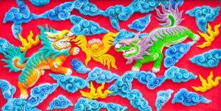 Chinesische Löwewand Stockfotografie